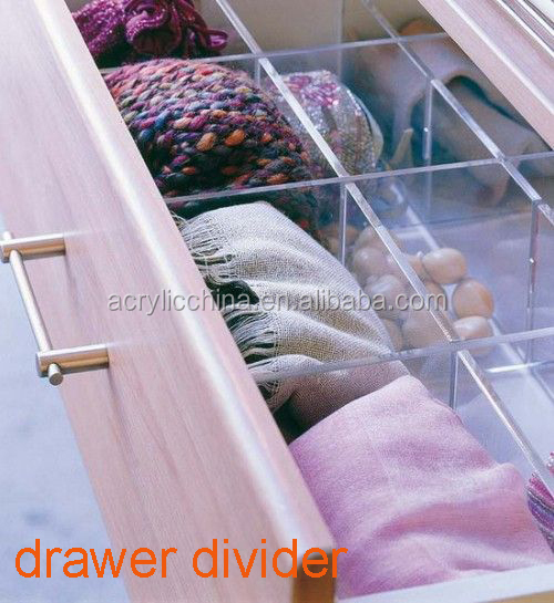 customized clear acrylic drawer divider