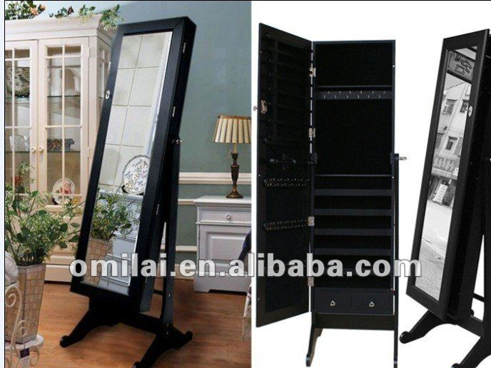 stand mirror jewelry armoire in black