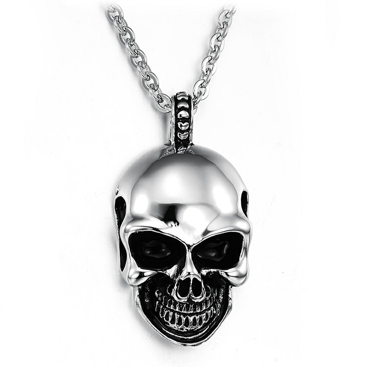 Marlary 2018 Excellent Quality Popular Mens Unique Stainless Steel Skull Pendant Gothic Skull Necklace Jewelry
