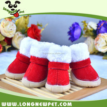 Fashion Dog Shoes Red Dog Snow Boots Soft Warm Fleece Dog Footwear