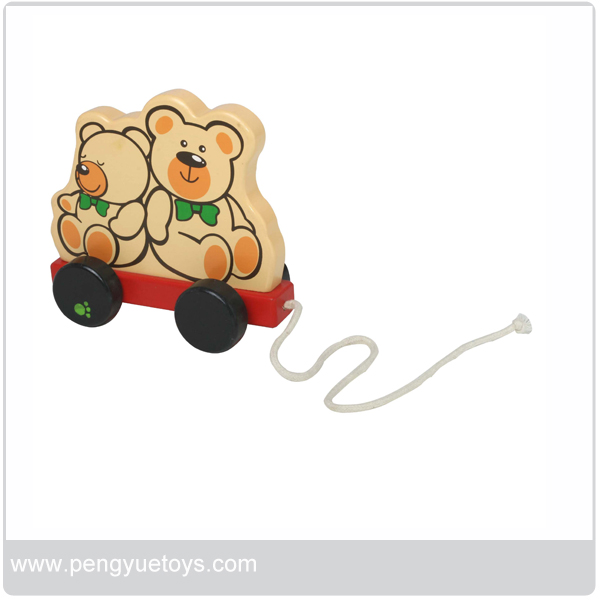 Mother bear and baby bear pull along Wooden Pull Along Toy