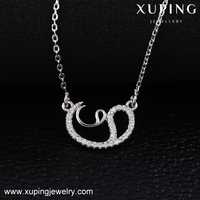 41848 Xuping gemstone pendant necklace collar fashion accessories luxury micro pave stones
