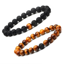 8MM Tiger Eye and Lava Stone Beads Relationship Long Distance His and Hers Couple Bracelet for men