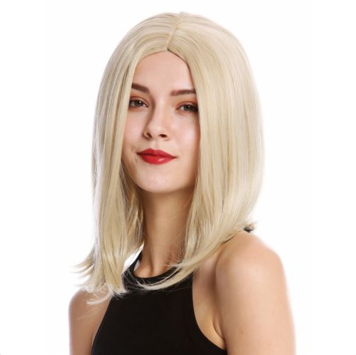 Ladies' Wig Long Bob Short Smooth Side Middle Part Light Blonde Mix AD851