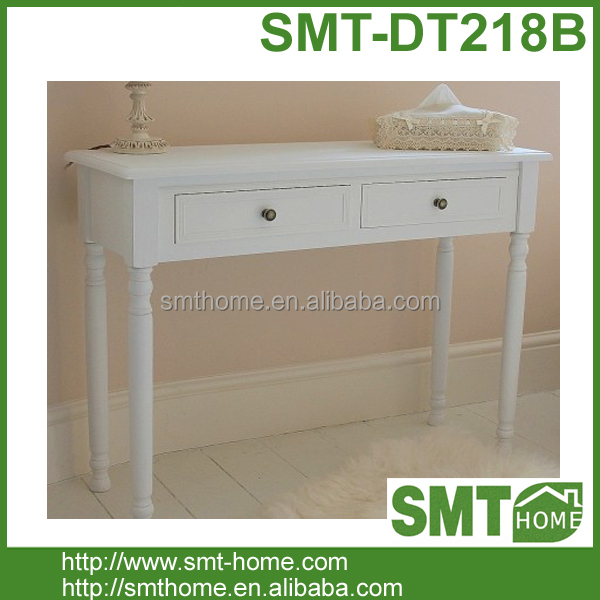 Simple French Style White Dressing Table Design With Drawers