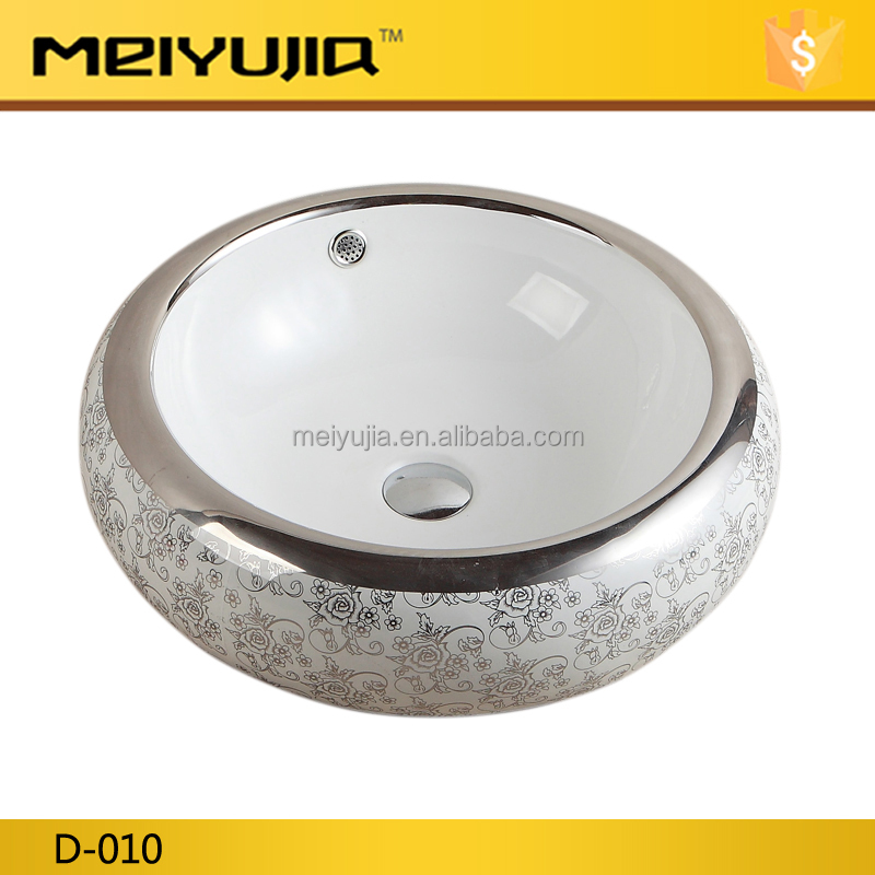 D-010 Hot Sale Silver colored one hole ceramic small size wash basin