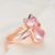 Fashion rose gold natural gold powder crystal furong stone pink cat Ring
