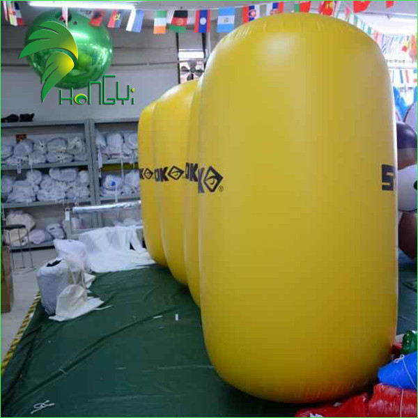 Inflatable Water Park Games Cylinder Swim Buoy , Yellow Inflatable Water Buoy Balloon For Sea