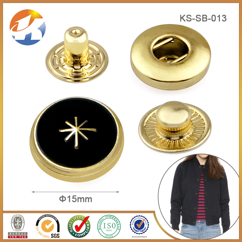 Fashion Gold With Balck Epoxy Decorative Snap Button