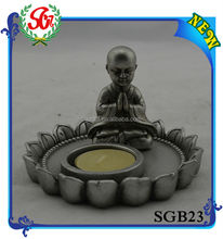 SGB023 Antique With Tray Candle Holder Silver Buddha Head