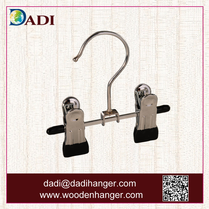 Small size chrome plated metal pants hanger with two clips