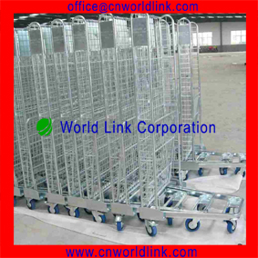 With Wheels Heavy Duty Foldable Steel Mesh Cage