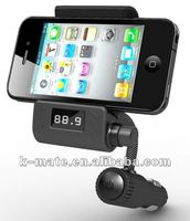 Bluetooth fm transmitter with holder for iPhone, LED display,line-in/line-out function