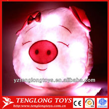 2014 new design cute pig shaped night bright light pillows