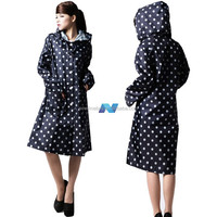 Women Polka Dots Outdoor Travel Waterproof Riding Clothes Raincoat Ladies Poncho Hooded Knee Length Rainwear