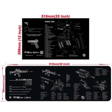 "Custom 20X12"" 36x12"" Rubber Gunsmith Armorer AR15 Bench Cleaning Gun Mat with All Parts List for Gun Repair Accessories"