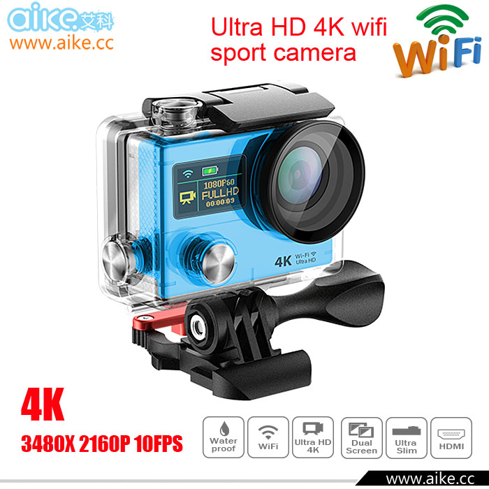 Ultra HD 4K action camara SPORTS CAM 170 degree wide Angle Sports Camera 2-inch dual Screen 1080p 60fps xiaomi yi Camera