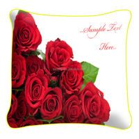 2016 new fashion red rose cushion cover for wedding decor