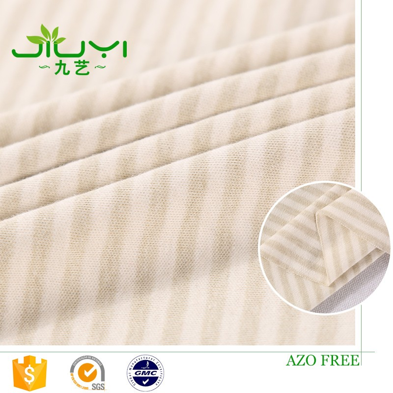 stock Factory green stripe colored organic cotton muslin fabric for baby