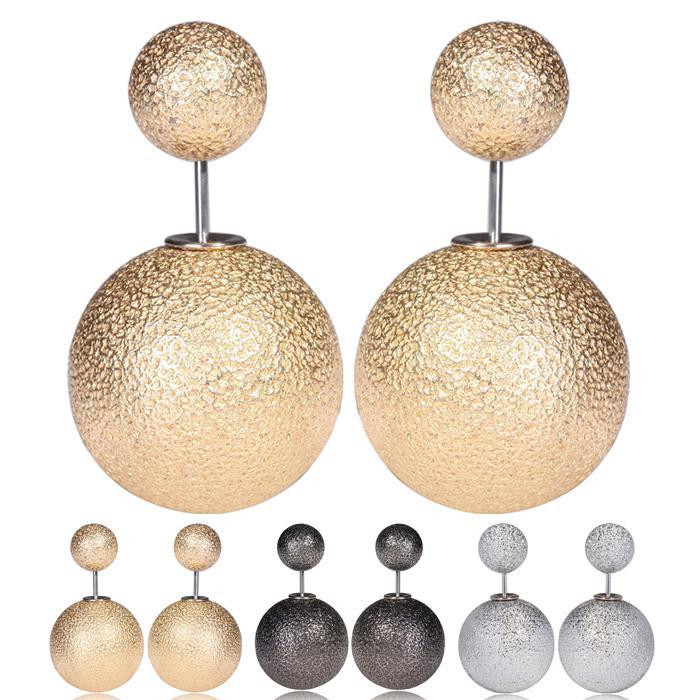 New Fashion Matt Double Side Shining Big Pearl Women Stud Earring