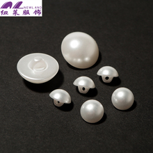 White Plastic Half Round Pearl Shank Button with Single Hole