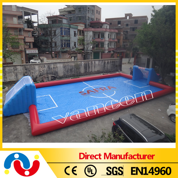 12x8x3m pvc tarpaulin inflatable water football pitch , inflatable football field for sale
