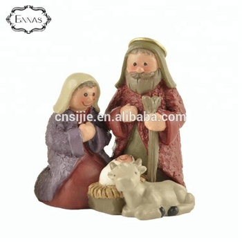 Resin Christmas Nativity Scene Set with Mary Joseph and Baby Jesus Holy Family religious figures Christmas decoration