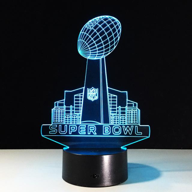 Super Bowl NFL Football 8 colors 3D optical illusion led lamp