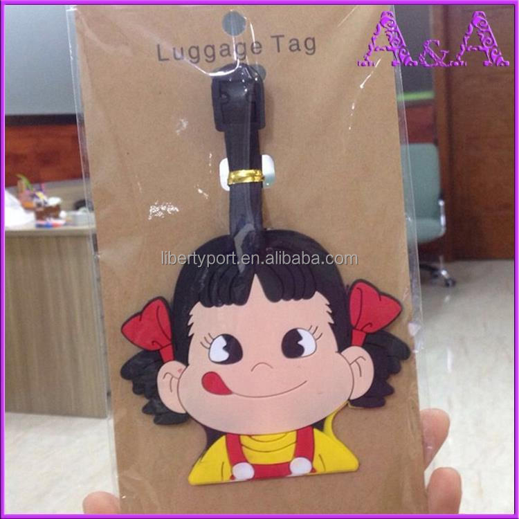 Cheap Price Customized PVC Luggage Tag, Airline Luggage Tag with Loop Strap, Hard Plastic Luggage Tag