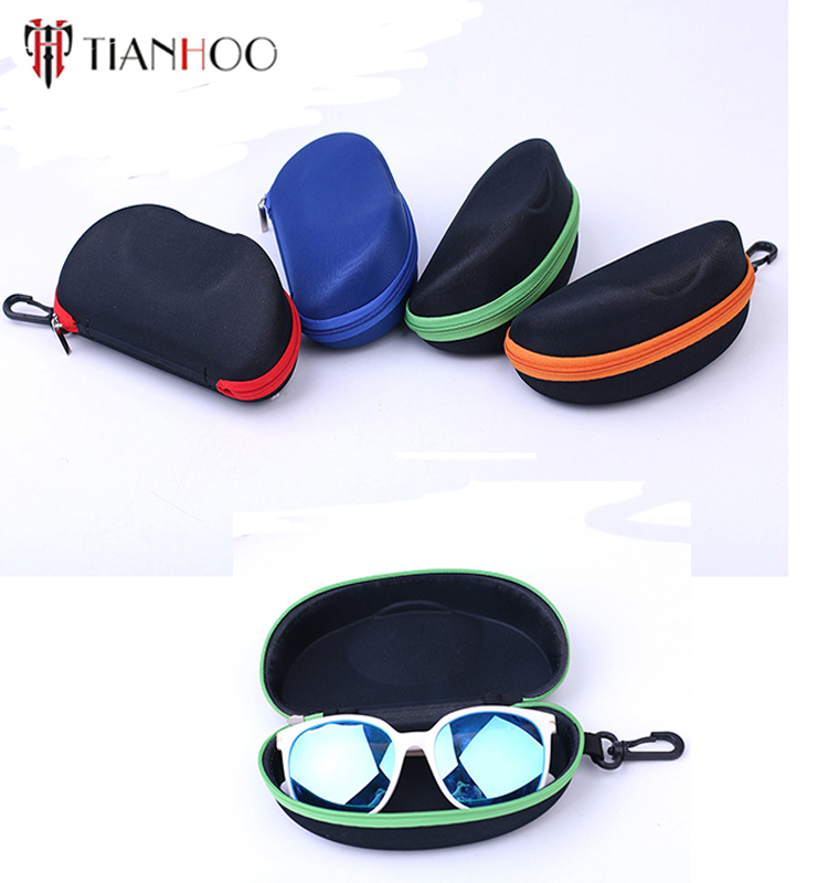 custom large fashion zipper sunglasses bag, soft EVA protable glasses case with hook for women and men