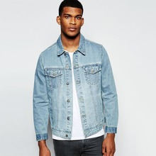 factory hot sale custom light blue denim jacket in new model for men