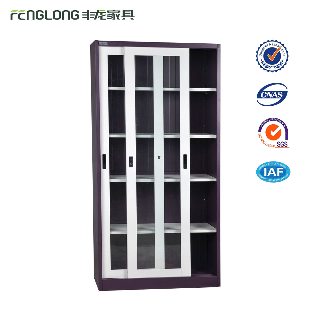 Best price metal cabinets with glass sliding door display cabinet