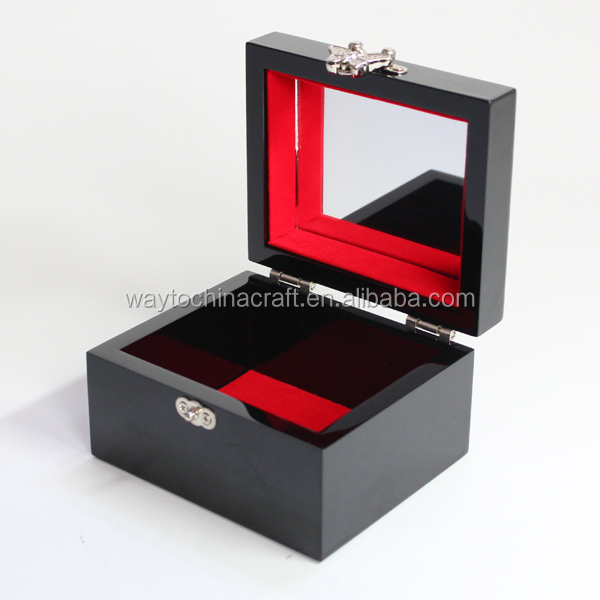 Top quality mirror and lock wooden compact jewelry box