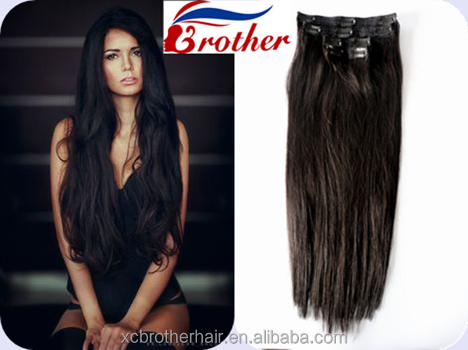 Unprocessed natural 10A virgin Brazilian Clip in human hair extension