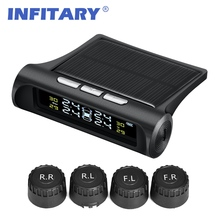 Intelligent Solar Power Wireless LED Display 4 External Sensor Car TPMS Tire Pressure Monitoring System