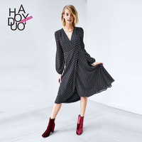 HAODUOYI Women Dot Chiffon Dress Puffy Sleeves Casual Fold A Line Dresses for Wholesale