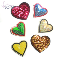 New fashion shiny sequin clothing custom iron heart patch
