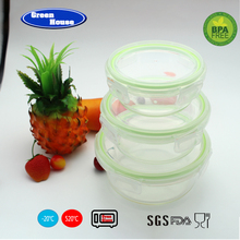 Breakage-proof high quality 3pcs high borosilicate glass food container/glass bento lunch box with lid