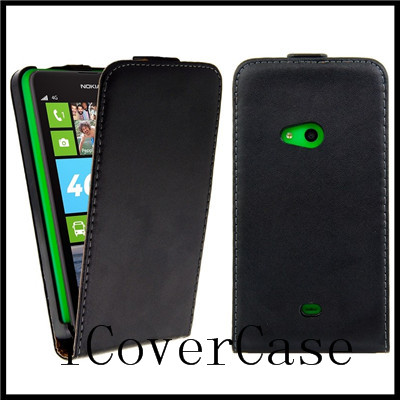 For nokia lumia 625 real leather flip case cover with black color