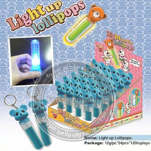 lipstick shape glow stick light up lollipop with bear toy