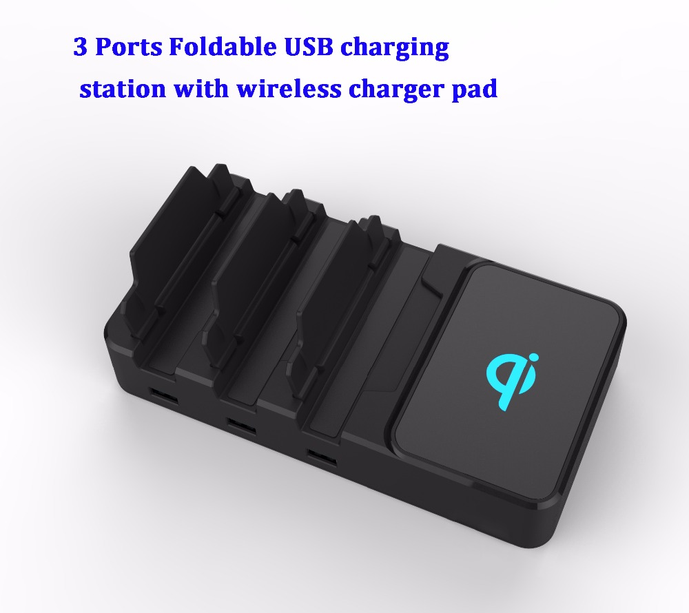 Housing charging station QI wireless charger docking 4 port USB with UK/US/EU plug