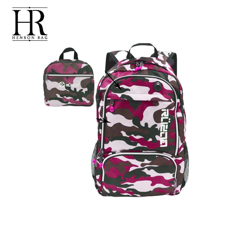 OEM Available SGS Approved camouflage high school sport backpack