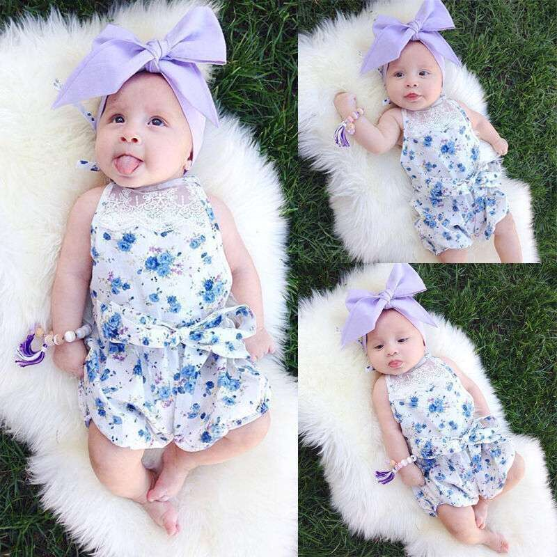 wholesale baby girls bodysuit shabby chic floral lace romper factory price