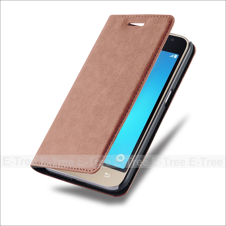 In Stock PU Magnet Flip stand wallet phone leather cover for Samsung Galaxy J1