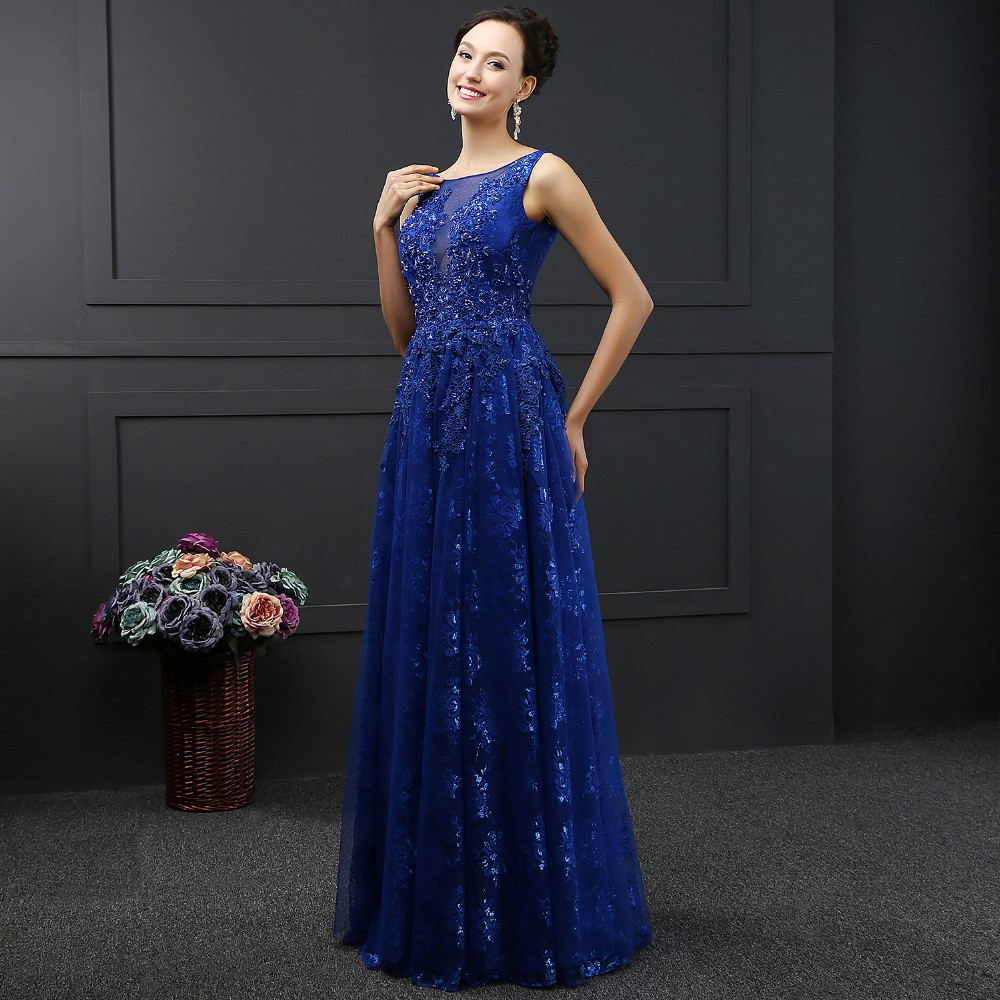 SL-3014 Floor -Length O-neck Sleeveless Backless Lace Evening Dress