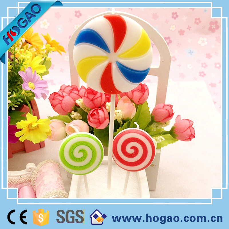 Sweet Double Colors Lollipop Desk Candy Shaped Flat Candle