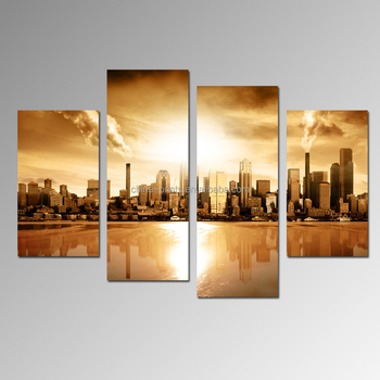 Modern Cityscape Photo Prints skyscraper Building Picture Canvas Art Living Room Office Decoration Goods