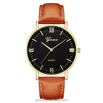 619 New Arrival Fashion Popular Big Round Dial Geneva Leather Watch