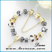Glass Bead Charm Bracelet New Gold Plated Chain Design Silver Charms for Bracelet