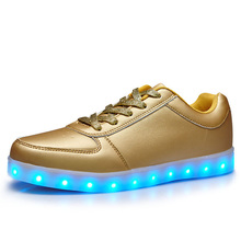 Spring Golden PU Women Adult Lighting Shoes LED Shoes with Soft Rubber Sole